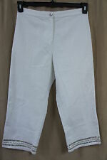 JM Collection Pants Sz 10 Bright White Sequined Bottom Casual Capri Party Pants