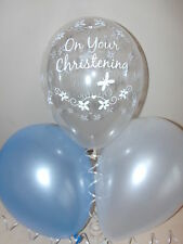 30 Boys Pale Blue & Clear CHRISTENING BALLOONS Ideal for Party Table Decorations