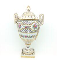 """Antique Continental Porcelain Twin Handled Porzellan Vase Urn Gilded 10.5"""" 27cm"""