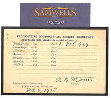 Ms2802 1905 Gb Stationery*Scottish Microscopical Society*Card Science Microscope