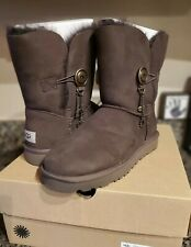 UGG Womens Boots Size 11 Azalea Charm Chocolate Sheepskin Suede Classic Short