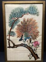 VTG CHINESE PEACOCK ROSES FRAMED 100% HAND STITCHED EMBROIDERY ON SILK WALL ART
