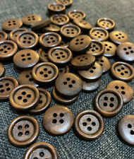 10 x 15mm Dark Coffee Brown Wooden Buttons - Australian Supplier