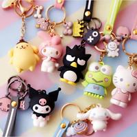 Cute 3D Hello Kitty My Melody Kuromi Keroppi Frog Cinnamoroll Keychain Key Ring