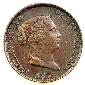 ISABEL II. 25 céntimos de real. 1855. Segovia. EBC-/XF-. Cobre 9,5 g. Escasa asi