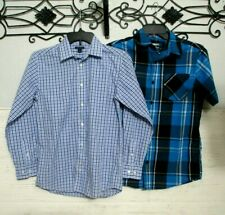 Boy's Tommy Hilfiger Shirt Size 14 & Hawk Size L Blue Plaid