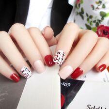 24Pcs Pink & Purple Nail Art Short False Nails With Stickers Acrylic Tools Gifts