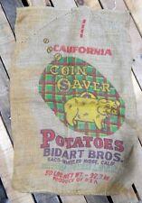 Vintage Bidart Bros, California Coin Saver Potato Sack, Burlap Bag, Piggy Bank