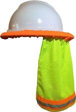 5 PCS SAFETY HARD HAT NECK SHIELD / HELMET SUN SHADE HI VIS REFLECTIVE STRIPE YL