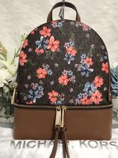 Michael Kors Rhea Floral Zip Backpack Brown Multi/gold Original