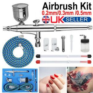 Double Action Airbrush Kit Air Brush Spray Gun Set Paint Art Tattoo Cake Textile
