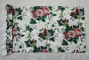 1 Waverly Pleasant Valley Pillowcase Berries Floral Eyelet Lace Ruffle Standard