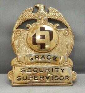 VINTAGE OBSOLETE GRACE HOSPITAL DETROIT SECURITY SUPERVISOR HAT BADGE RARE