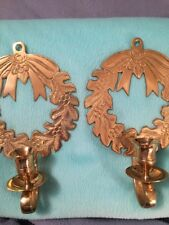 Set Of Two Vintage Brass Holiday Wreath Candle Holders Wall Sconce