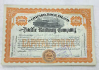 1915 Chicago, Rock Island, & Pacific Railway Stock Certificate Railroad