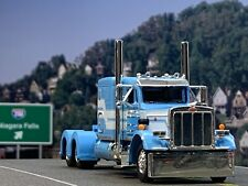 "1/64 DCP BABY BLUE/WHITE PETERBILT 359 W/ 63"" FLAT TOP SLEEPER"