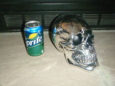 MEDIUM SILVER MIRRORED HUMAN SKULL PROP High Halloween Stitched Scars Cool HTF!!