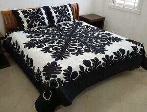 Hawaiian Quilt BEDSPREAD 100% hand quilted/hand appliqué shams BREADFRUIT BLK