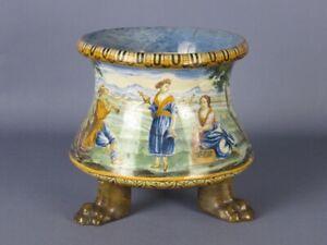 Majolica Italian Antique Vase Tripod Polychrome Painted Period XVIII Century
