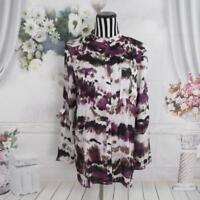Ariella Button Down Long Sleeve Multi Color Shirt Top Size M