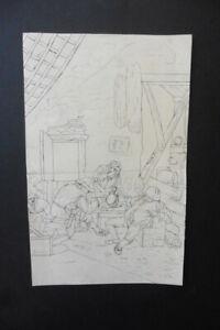 DUTCH SCHOOL 19thC - PIPE SMOKERS IN AN INN - FINE INK DRAWING