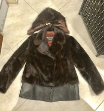 CORNELIUS /SAGA MINK Brown Leather Fur Vintage 60s Coat/Jacket - Sz M