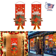 Xmas Door Window Hanging Decor Merry Christmas Ornaments Santa Claus Banner Flag