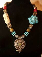 Tribal Ethnic Turquoise Coral Carved Bone Antique Brass Statement Necklace