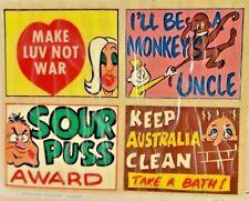 1960S COMIC SIGNS DUMB INSULTS SLOGANS STICKER AUSSIE JOKE DECAL LIKE SCANLENS!!