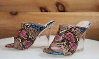 "CR Boa Babe Multi Snake Slip On Clog 4.5"" High Heel Wedge Shoes 6-11"