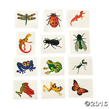 36 Assorted Fun Insect & Reptile Kids Temporary Tattoos Party Favors
