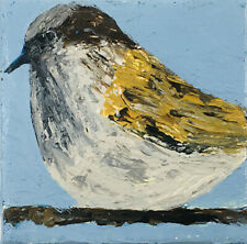Wren Bird Outsider Folk Art Brut Palette Knife Painting Katie Jeanne Wood
