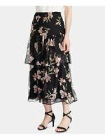 RALPH LAUREN Womens Black Floral Tea-Length Peasant Skirt Size: M