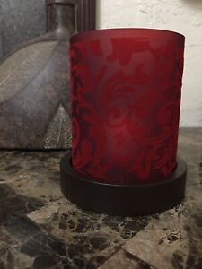 NEW Elegant 5.5in Red Flocked Round Glass Candle Holder w Wooden Base & Candle