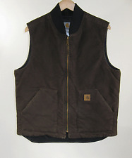 Carhartt Mens Dark Brown Sandstone Vest Duck Arctic Quilt Lined Sz LT Large Tall