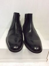 BRAND NEW MARKS & SPENCER COLLEZIONE BLACK LEATHER ANKLE BOOTS SIZE 8.5 / 42.5