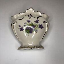 Vintage Leneige Flower Vase Gold Trim  With Purple Flowers