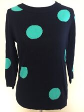 J Crew Navy Blue Green Dots  Crewneck Sweater Size   XS