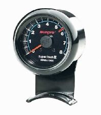"Sunpro 2-5/8"" Super Tachometer Black / Black Bezel 0-8000 RPM New CP7906"