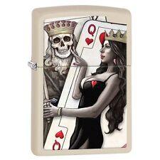 Zippo 29393 King & Queen of Hearts Cream Matte Finish Full Size Lighter
