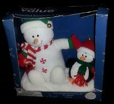 Animated 2005 Plush Snowman & Penguin play Jingle Bells Musical Christmas NIB