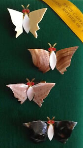 Vintage Mother of Pearl Shell Butterfly Brooch Insect Pin Hand Carved Lot of 4
