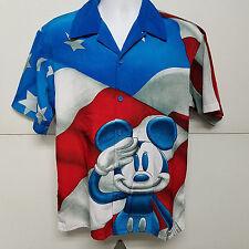 Mickey Mouse Walt Disney World Sz S Red White Blue Flag Salute Shirt