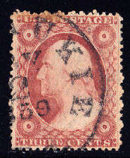 #26A - 3 Cents 1857, 96R11i, Double Transfer, THREE CENTS, ROSETTES, 1859-dated