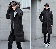 Men's Trench Outwear Winter Parka Jacket Down Warm Hooded Long Overknee Coat