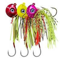 3pcs Fishing Lures Lead Hook Jig Head with Skirt Bass Bait Hook 3D eye Tackle