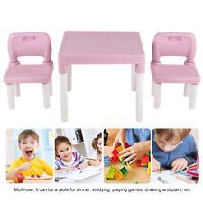3tlg. Kindersitzgruppe Kindertisch mit 2 Stühlen Kindermöbel Esstisch Rosa DHL