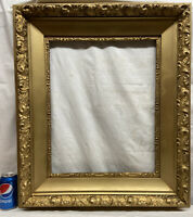Vtg LARGE Victorian Style Gold ORNATE Wood & Chalk Design 20x16 Frame NO GLASS