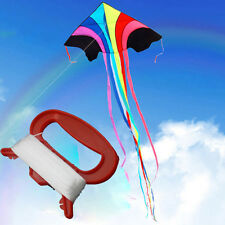 New 100M Kids Children Outdoor Flying Kite with D Shape Red Handle Line String