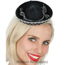 A795 Mini Mexican Sombrero Black Felt Hat Fancy Dress Fiesta Costume Spanish